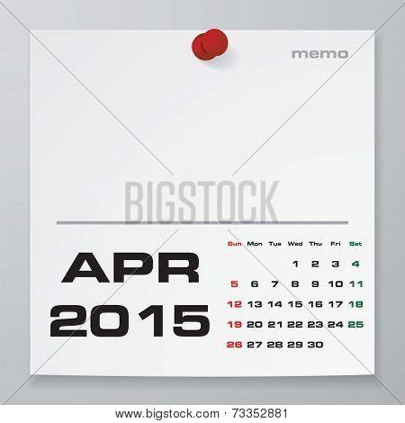 Simple 2015 year vector calendar : April 2015
