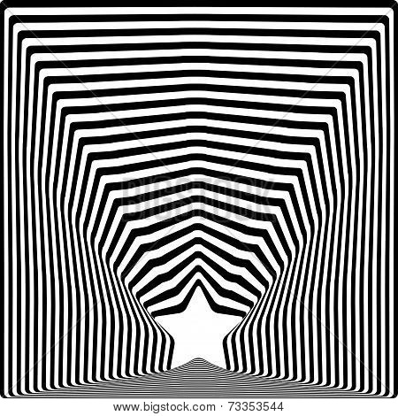 Star Black Stripes Optical Illusion Visual Art Effect.