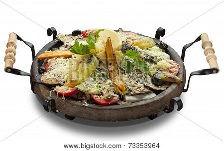 Grilled Vegetables With Cheese In A Clay Sach