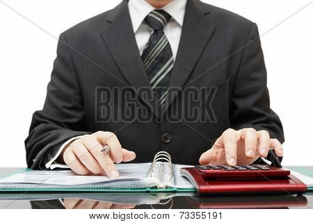 Accountant In Middle Of Work