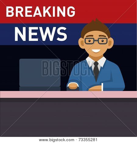 Newscaster with Computer, Breaking News. Vector