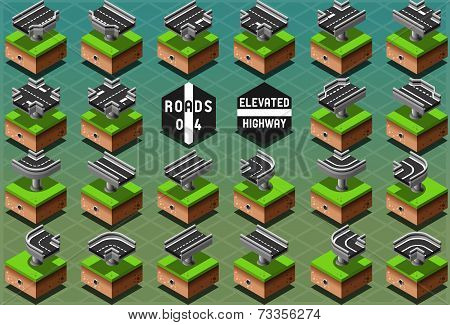Isometric Elevated Highway On Green Terrain
