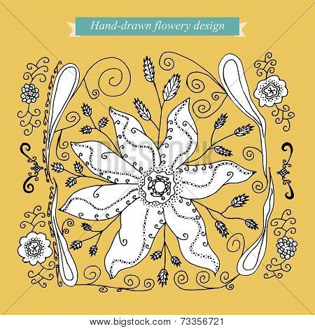 Hand-drawn flowery design
