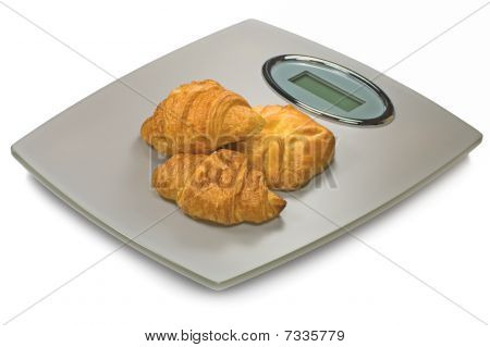 Digital Bathroom Scale And Croissants, Isolated