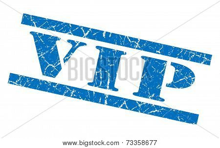 Vip Blue Square Grunge Textured Isolated Stamp