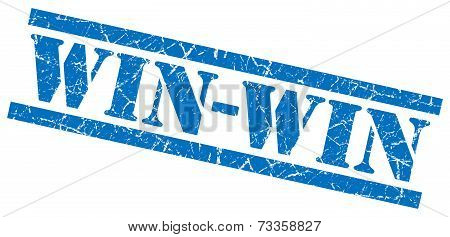 Win-win Blue Square Grunge Textured Isolated Stamp