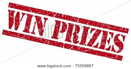 Win Prizes Red Square Grunge Textured Isolated Stamp