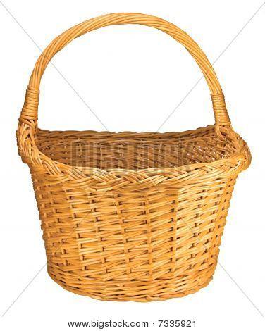Splint Willow Wicker Basket, Isolated