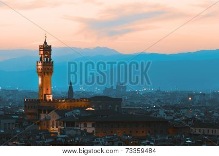 Florence palazzo Vecchio on a sunset