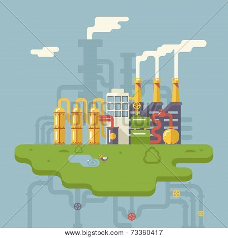 Retro Flat Factory Refinery Plant Manufacturing Products Processing Natural Resources with Distribut