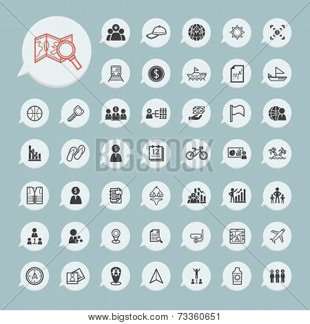Business Icons And Itinerary Icons Set On Blue Paper