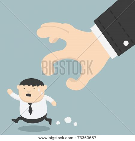 Fat Businessman Trying To Run Away From Hand
