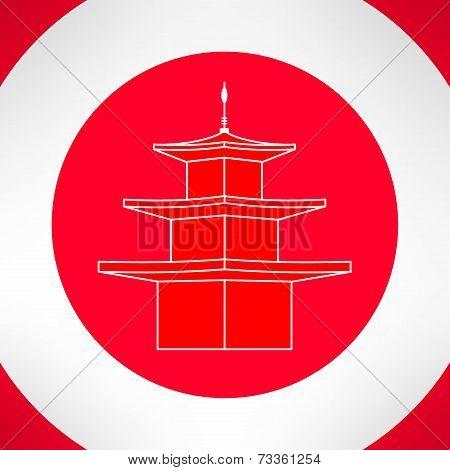 Buddhist pagoda in modern flat design. Vector