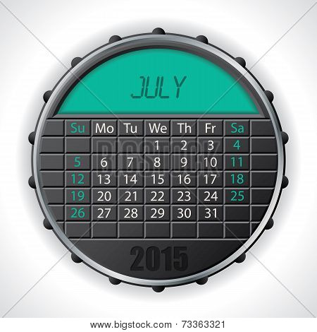 2015 July Calendar With Lcd Display