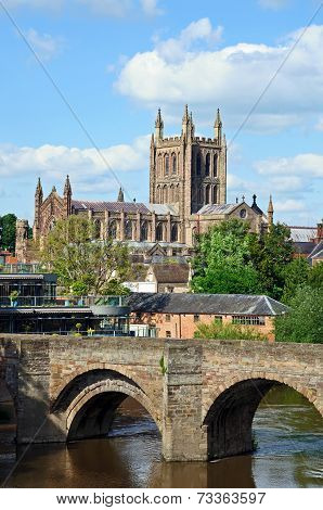 Hereford Cathedral and River Wye.