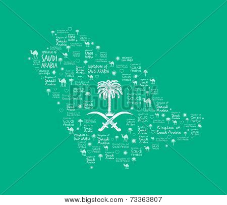 Saudi Arabia Map with Beautiful Pattern