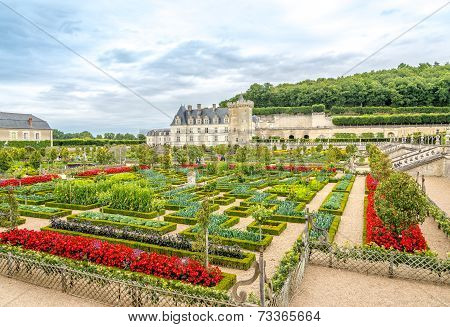 Castle Villandry With Colorful Garden.