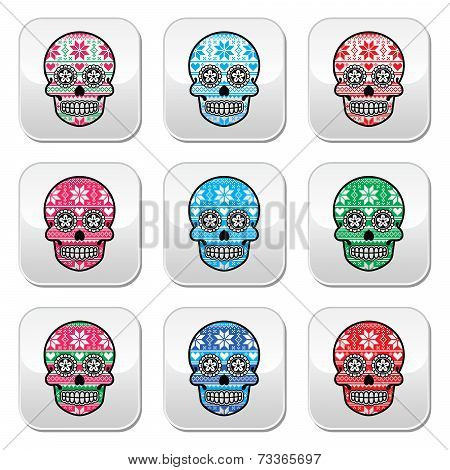 Mexican sugar skull buttons with winter Nordic pattern