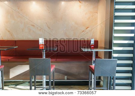 DUSSELDORF - SEPTEMBER 16: airport cafe interior on September 16, 2014 in Dusseldorf, Germany. International airport of Dusseldorf located approximately 7 kilometres north of downtown Dusseldorf
