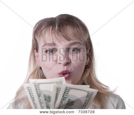 Young Woman Showing Cash