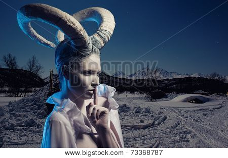 Female With Goat Body-art Over Winter Countryside Background. Dedicated To Chinese Horoscope 2015 -