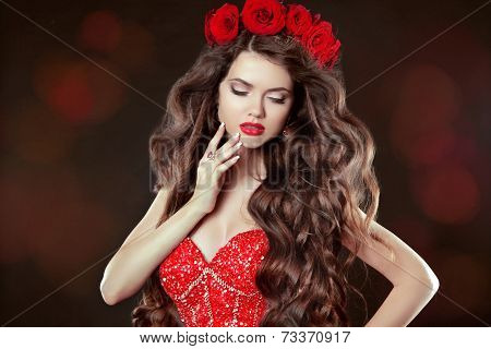 Long Wavy Hair. Makeup. Beautiful Woman With Chaplet Of Roses. Beauty Portrait. Brunette With Long C