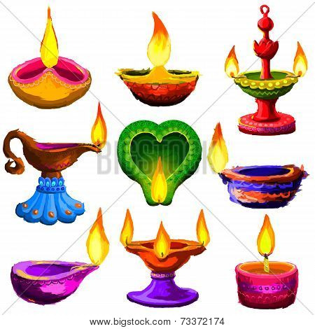 Colorful Diwali Diya