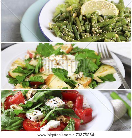 Collage of tasty salads