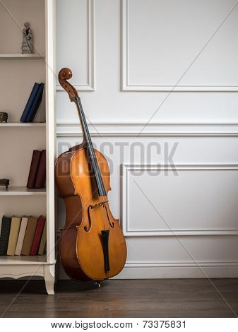 Cello in classical interior near bookshelf