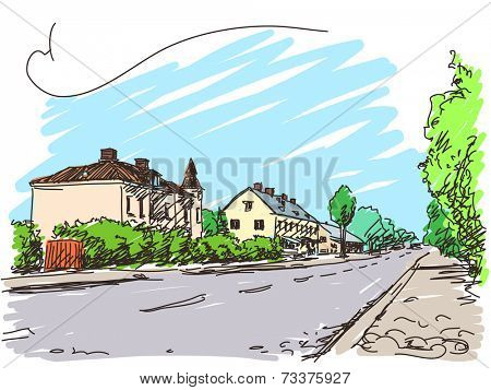 Town house and road Color sketch Vector illustration