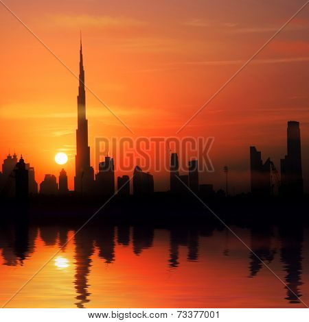 Dubai, United Arab Emirates. city, the rays of the setting sun