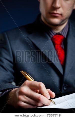 Busineeman Hand In Focus
