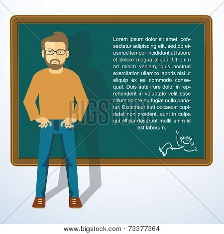 Frame with young man. Vector presntation template.