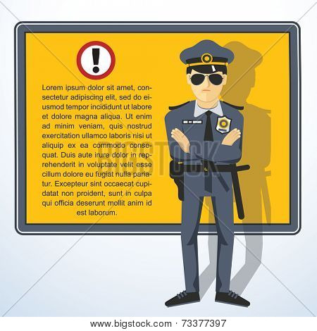 Frame with policeman. Vector presentation template..