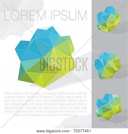 Abstract blue and green polyhedron vector template.
