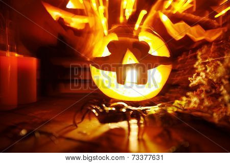 Blurred image with Halloween pumpkins