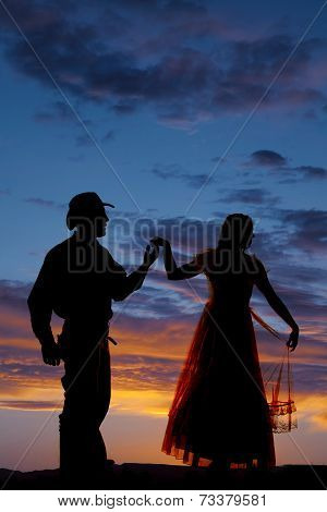 Cowboy Couple Silhouette Hold Hand Up Turn Away