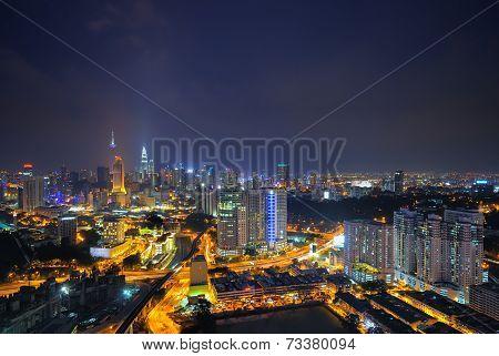 slightly defocused image of Kuala Lumpur skyline