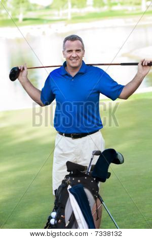 Handsome Mature Male on the Golf Course