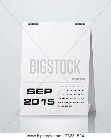 Simple 2015 year vector calendar : September 2015