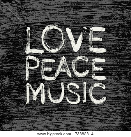 Vector love - peace - music poster