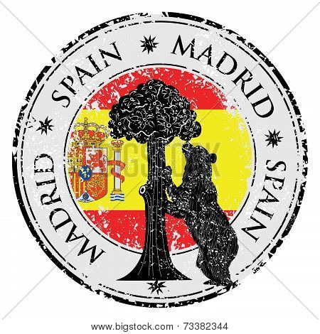 Symbol Of Madrid - Statue Of Bear And Strawberry Tree Vector