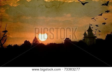 Vintage Halloween background - Old church from Transylvania and baths