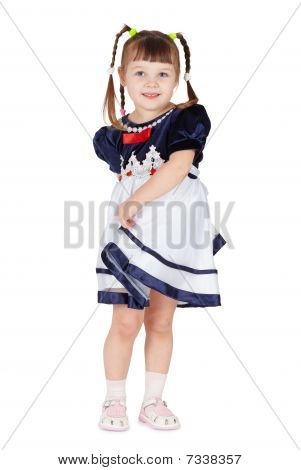 Coquettish Little Girl On White Background