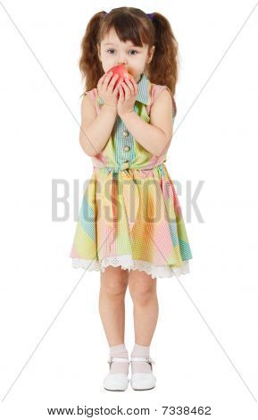 Little Girl Eating Apple On White Background