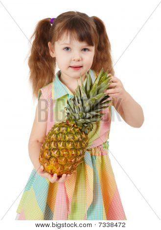 Child Holding Large Ripe Pineapple Isolated On White