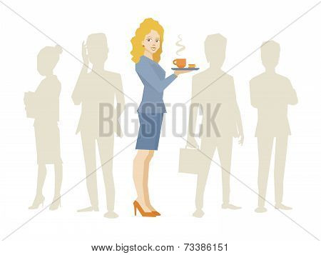 Vector Illustration Of Woman Portrait Secretary With Coffee In Hand Stands In The Center On A Backgr