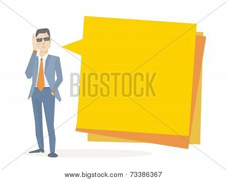 Vector Illustration Of A Portrait Of Analyst Man In A Jacket Hand Holds Glasses Stands Near Bright B