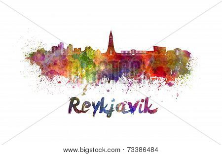 Reykjavik Skyline In Watercolor