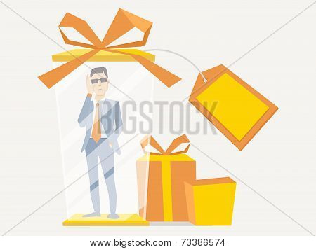 Vector Illustration Of A Portrait Of Analyst Man In A Jacket Hand Holds Glasses Stands In Gift Box